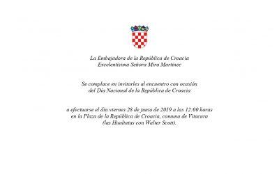 Invitación de la Embajadora de la República de Croacia, en el marco de las celebraciones del Día Nacional 2019